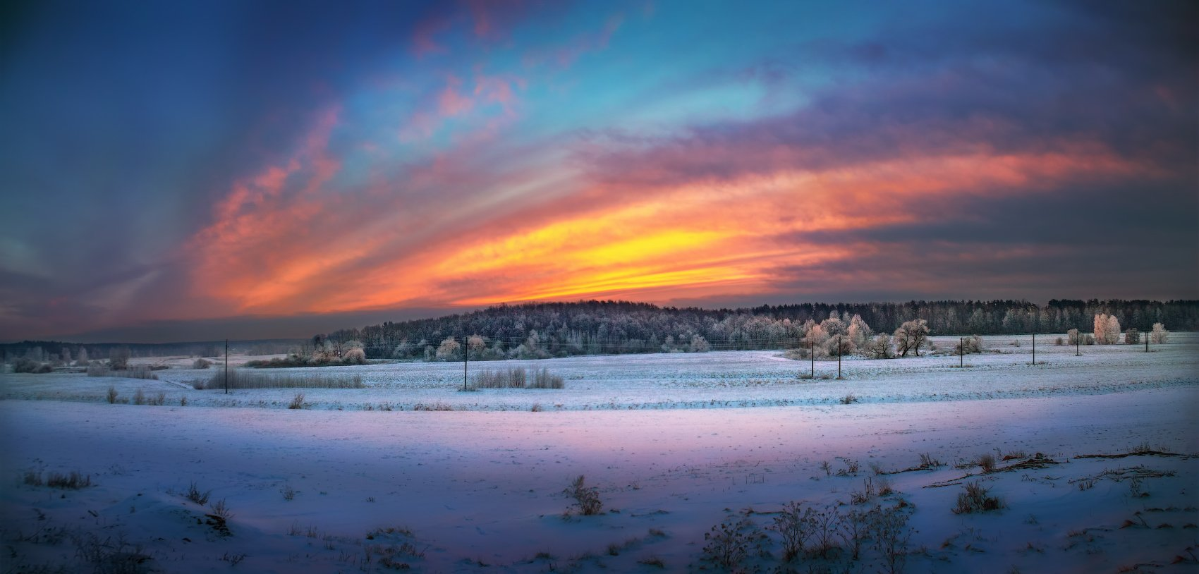 зима, поле, лес, деревья, небо, рассвет,, Сергей Шабуневич