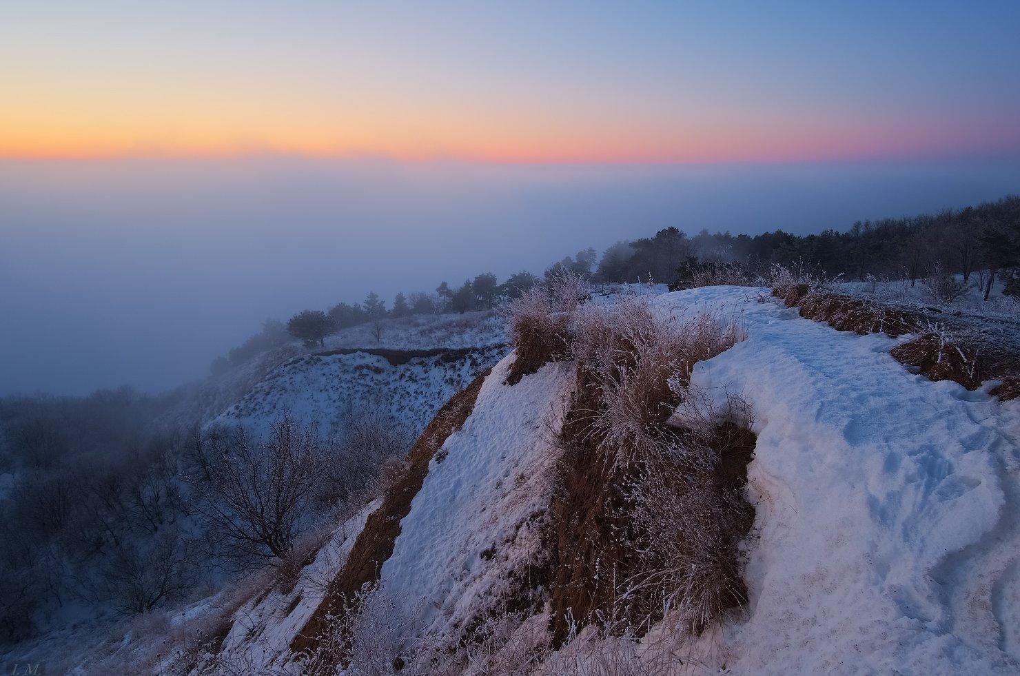 зима, сумерки, вечер, закат, туман, иней, снег, вид сверху, I'M