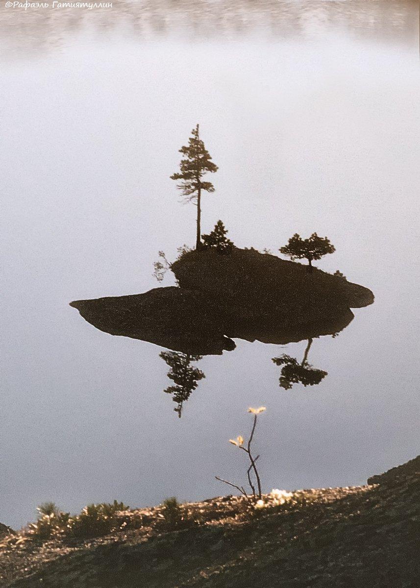красноярский край, западные саяны, национальный парк  ергаки, озеро, островок, кустик., Рафаэль Гатиятуллин