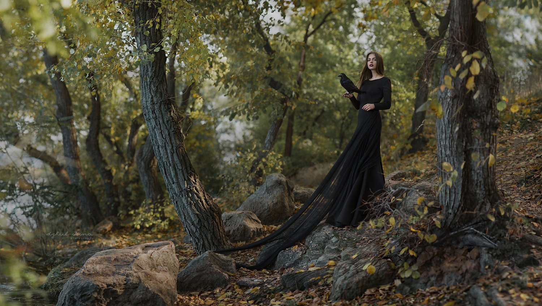 people portreit girl raven water black, Ирина Джуль