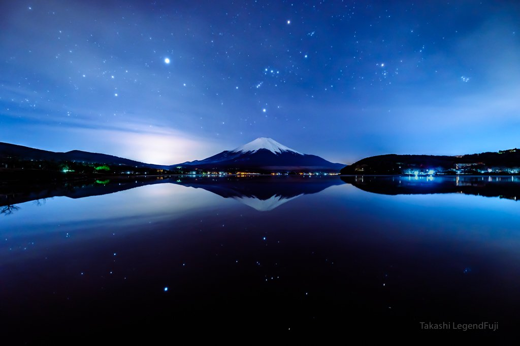 Fuji,Japan,mountain,Orion,star,lake,water,night,reflection,, Takashi