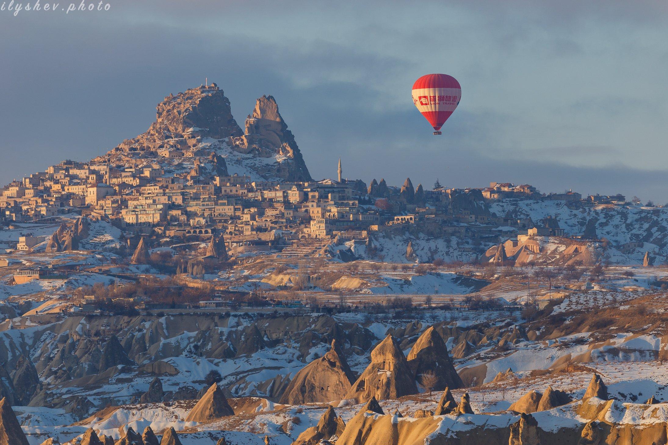 каппадокия, турция, путешествие, воздушные шары, зима, пейзаж, утро, Дмитрий Илышев (ilyshev.photo)