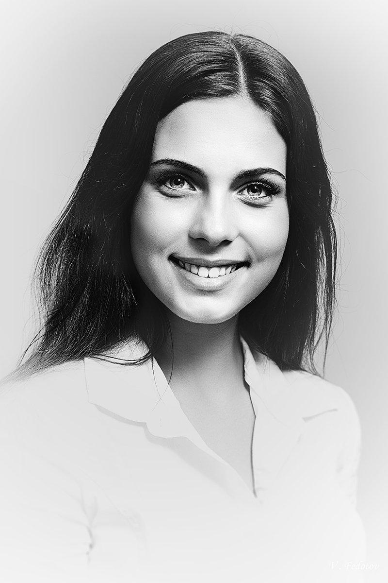 студийный портрет , чёрно белый , улыбка , девушка, Федотов Вадим(Vadius)