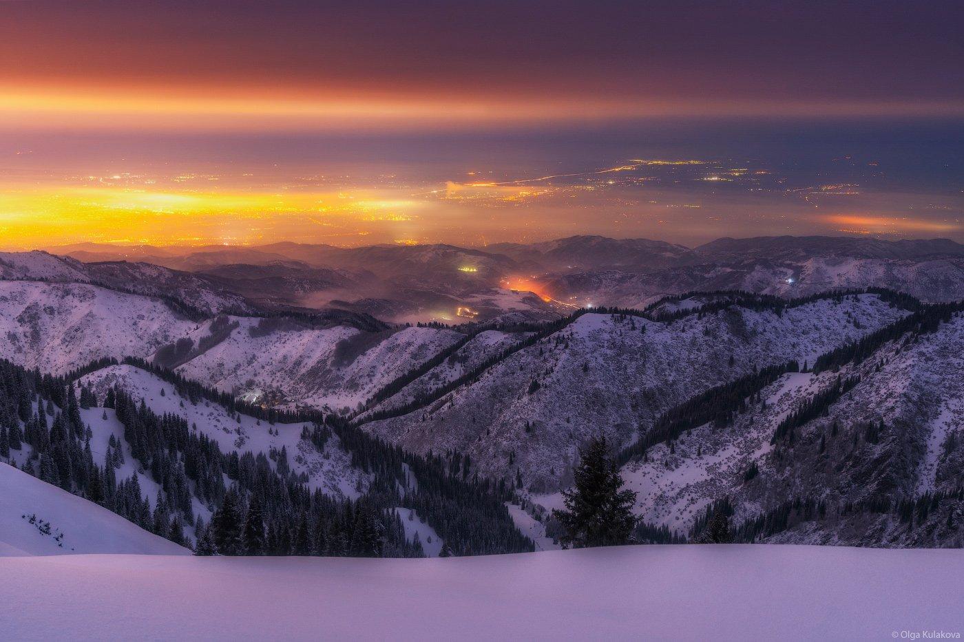 зима, ночь, город, Ольга Кулакова