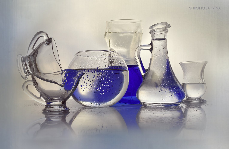 стекло капли прозрачное синее, Шипунова Ирина