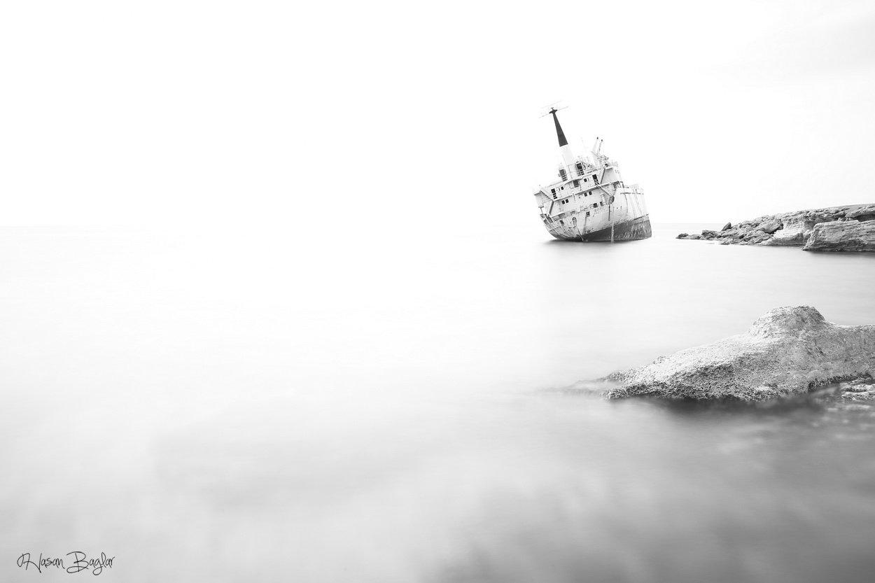 #long exposure #black&white #landscape #ship #cyprus, Hasan Baglar