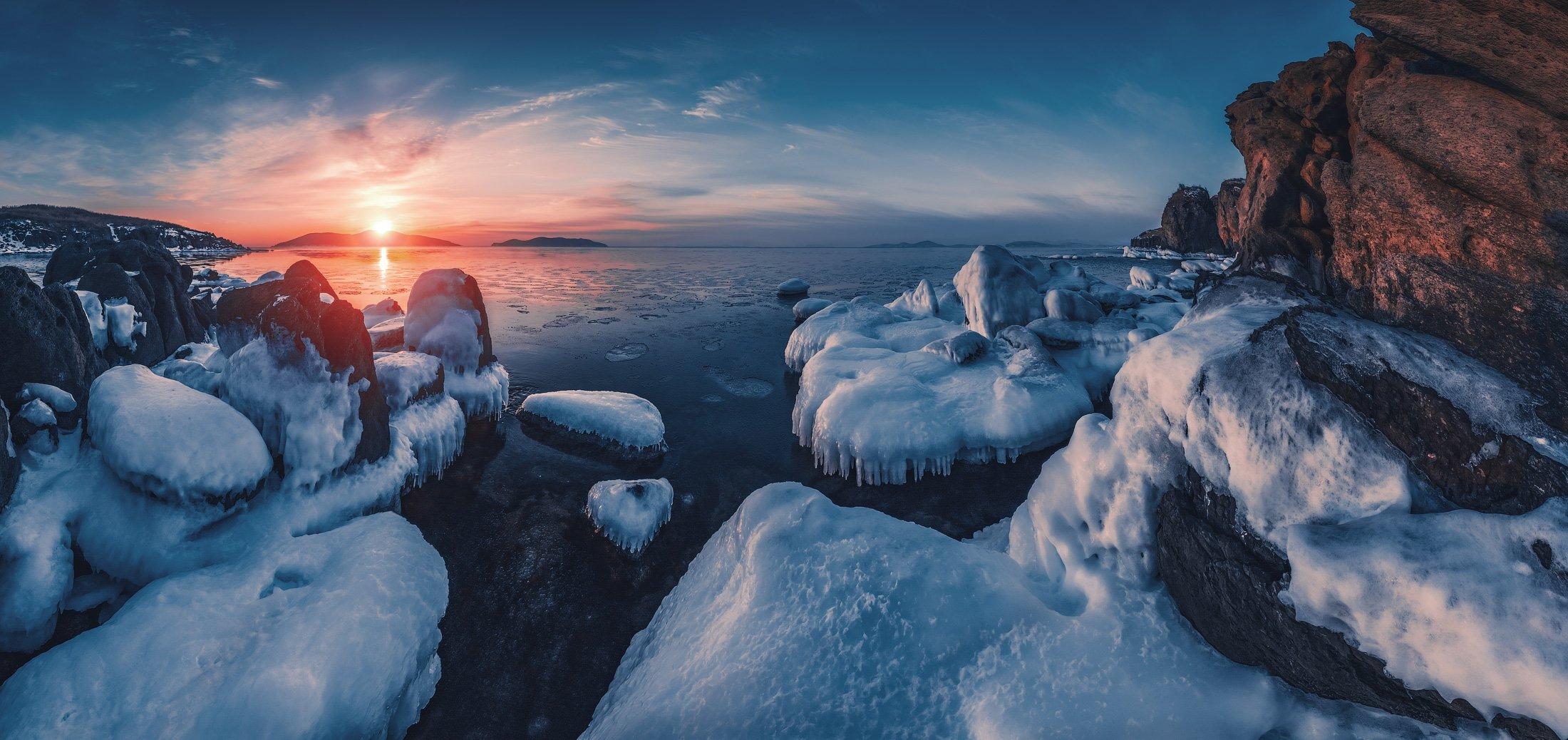 панорама, утро, зима, море, скалы, Андрей Кровлин