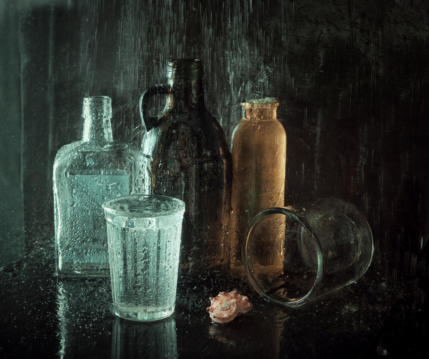 бутылки, стекло, вода, ракушка, натюрморт, Наталья Голубева