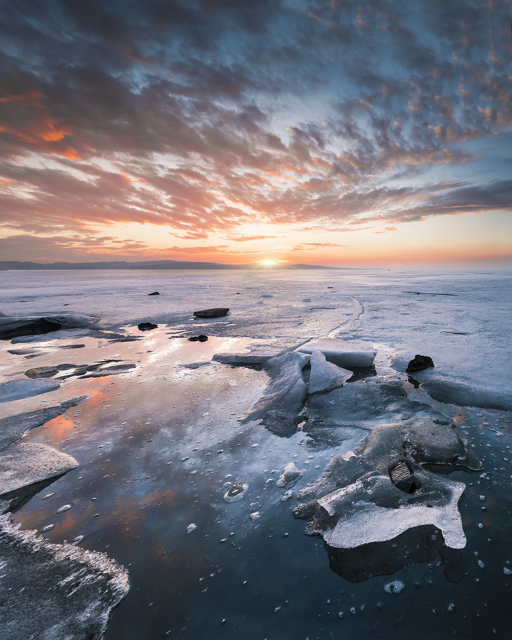 sunset, winter, ice, lake, water, sky, nature, landscape, Jeni Madjarova