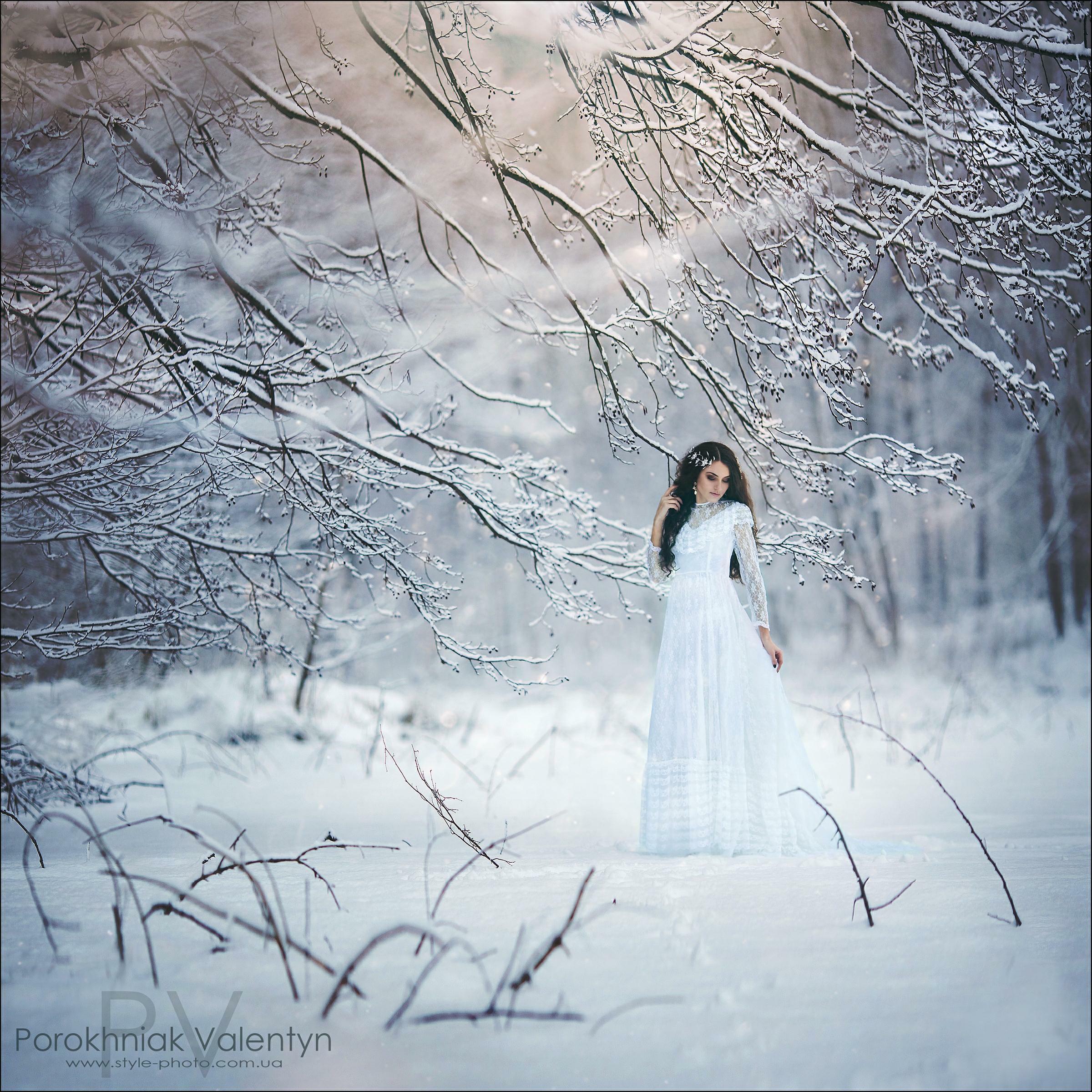девушка, снег, вснегу, мороз,зима, платье, фотосессия, длинное платье, PV