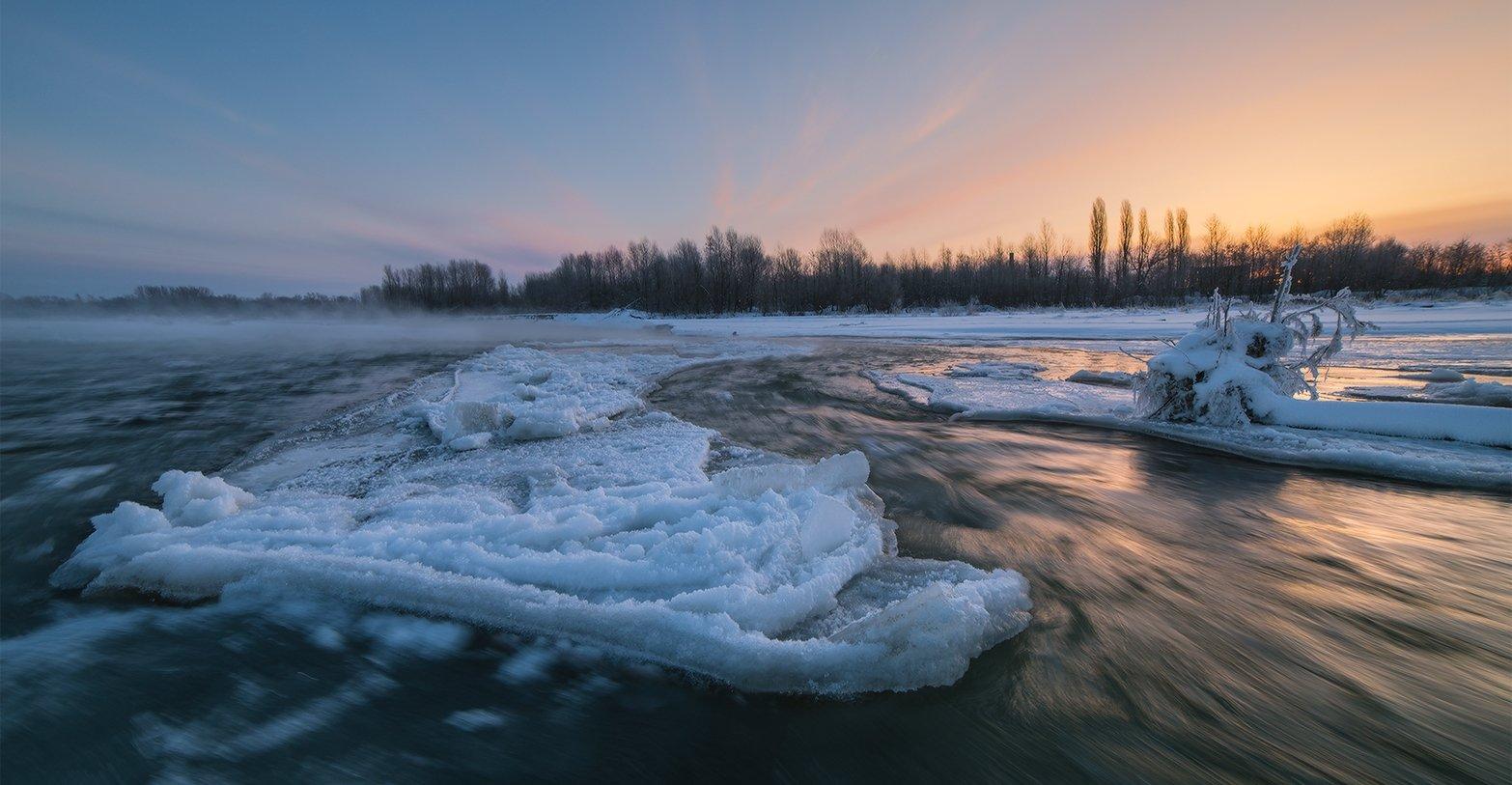 февраль рассвет мороз река лаба ледяной остров, Николай