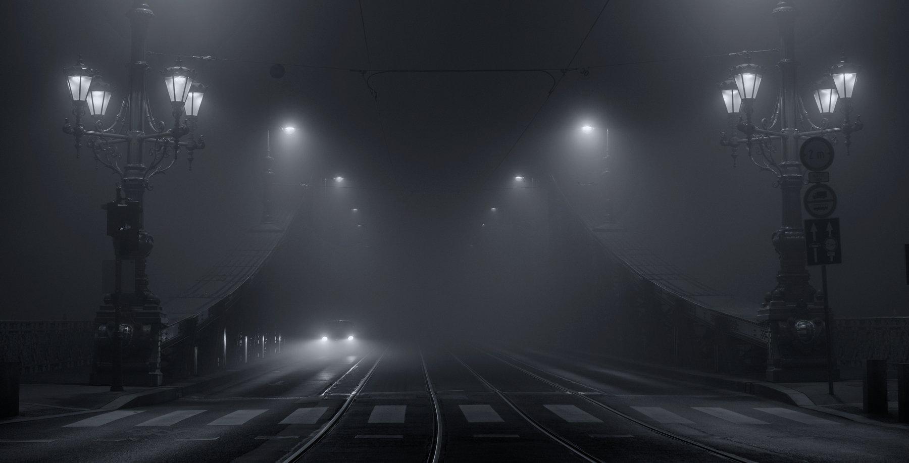 город Будапешт ночь туман архитектура мост городской пейзаж, Сергей Давыдов