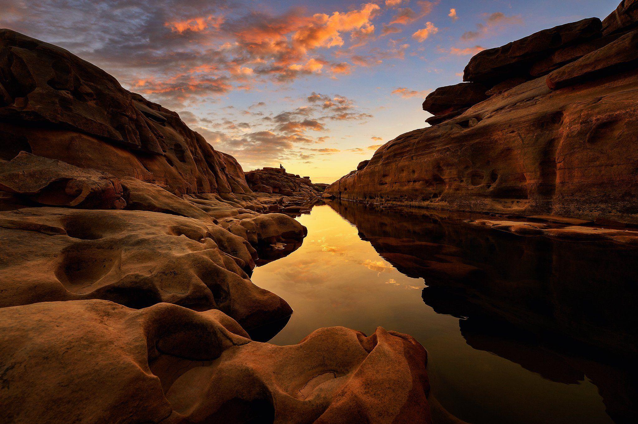 thailand,asia,travel,landscape,thai,river,rock,sunrise,cloud,water,colour, Saravut Whanset