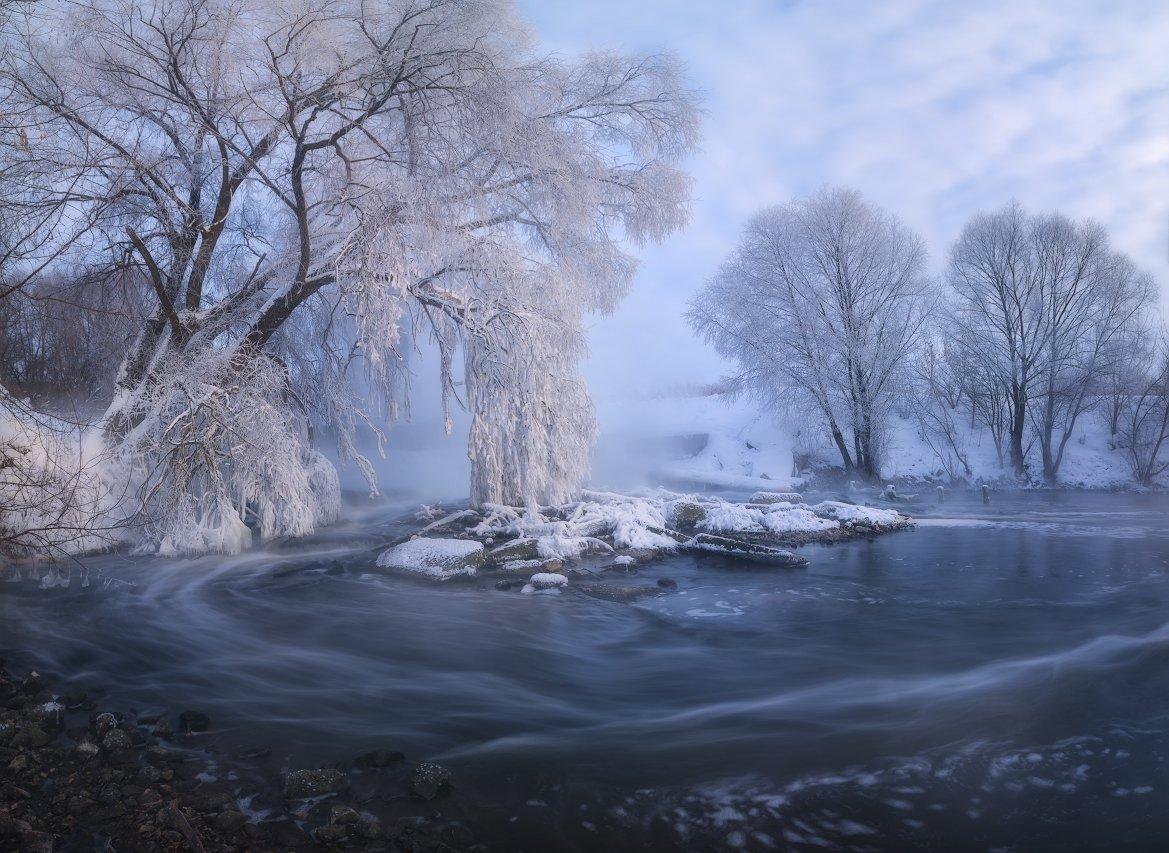 пейзаж, зима, зимнее фото, пейзажная съемка, рассвет, иней, мороз, река, листвянка, панорама, landscape, nikon d7100, sigma, фототуры выходного дня, россия, Жмак Евгений