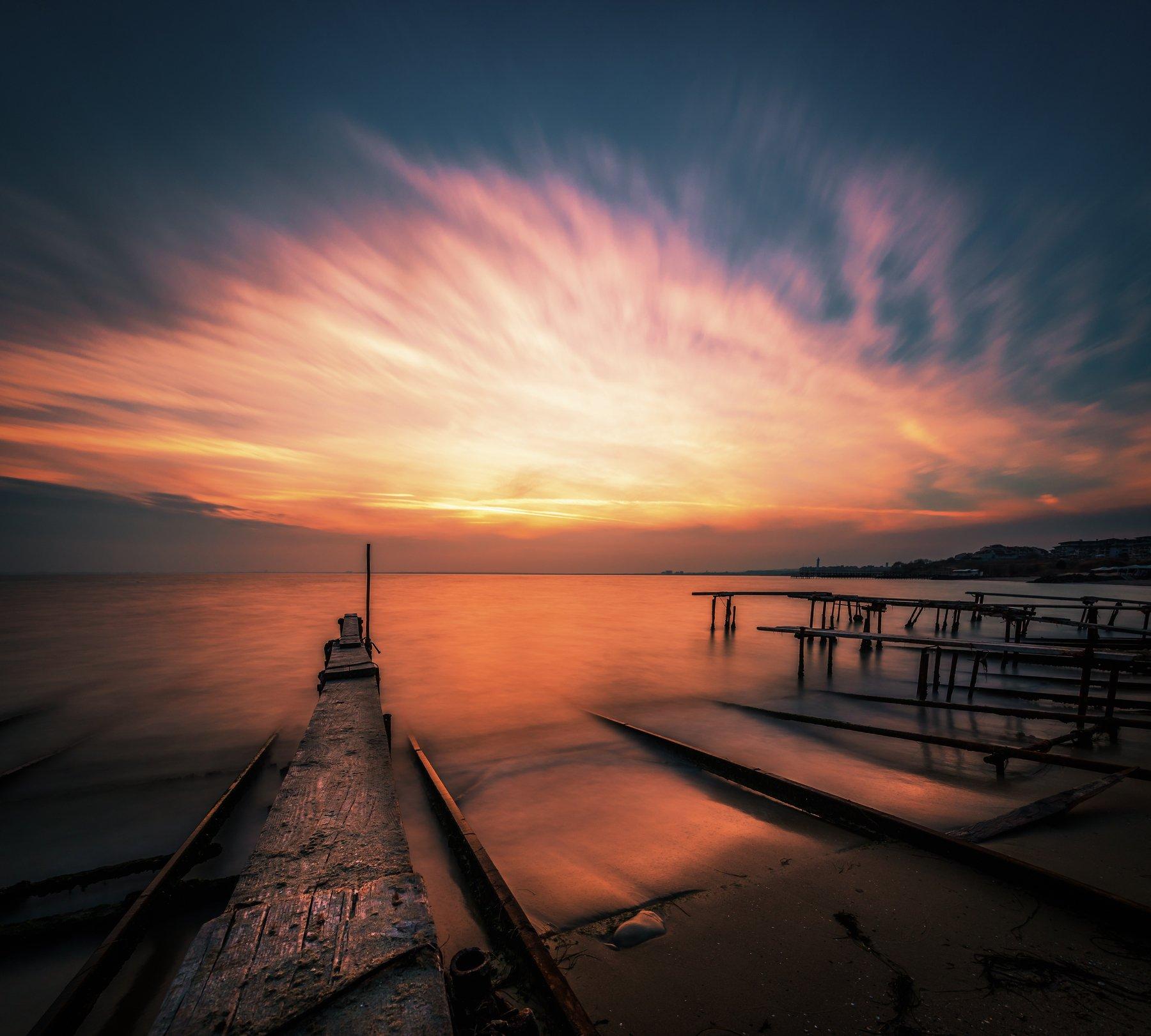 sunset, nature, sea, water, landscape, pier, clouds, long exposure, Jeni Madjarova