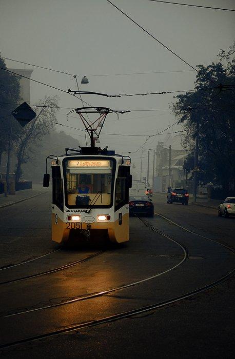 город, трамвай, смок, дым, рельсы, улица, москва, жара, Yagor