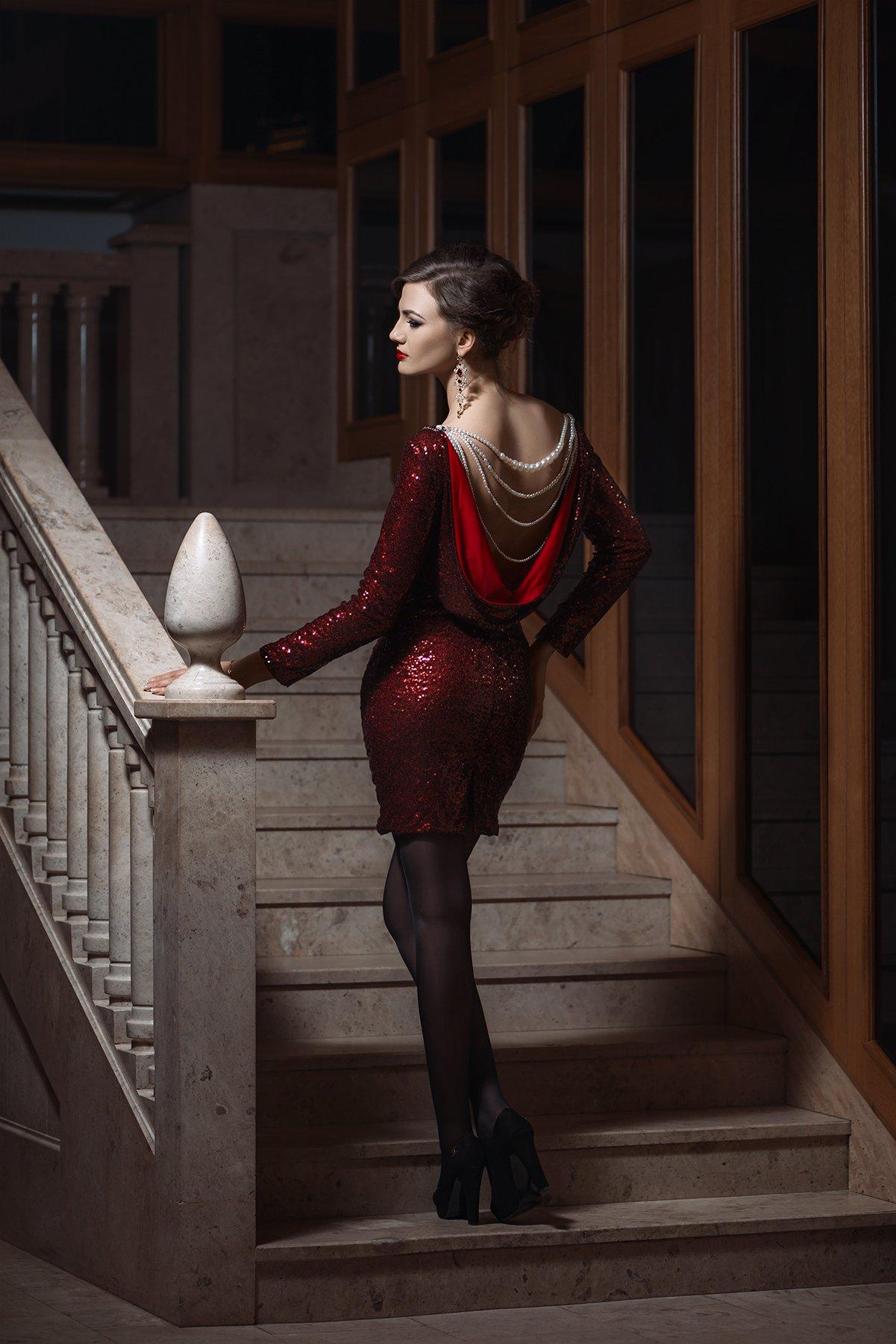 девушка, лестница, платье, Nikon, D800, 2017, Новицкий Илья