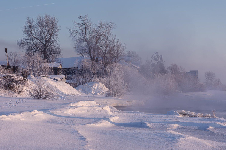 зима, вечер, река, туман, снег, деревья, берег, архангельск, Вера Ра