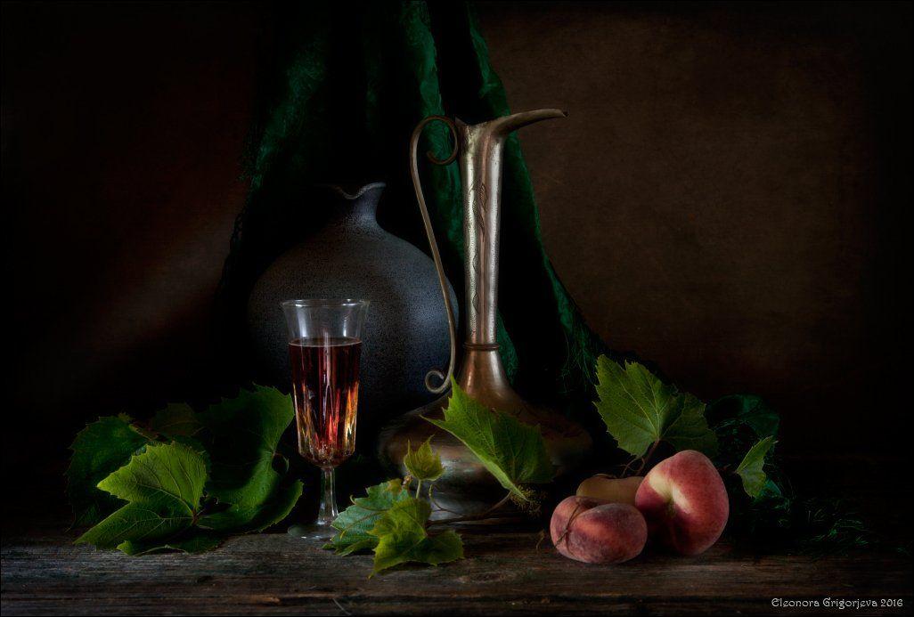 натюрморт, вино, кувшин, персики, Eleonora Grigorjeva