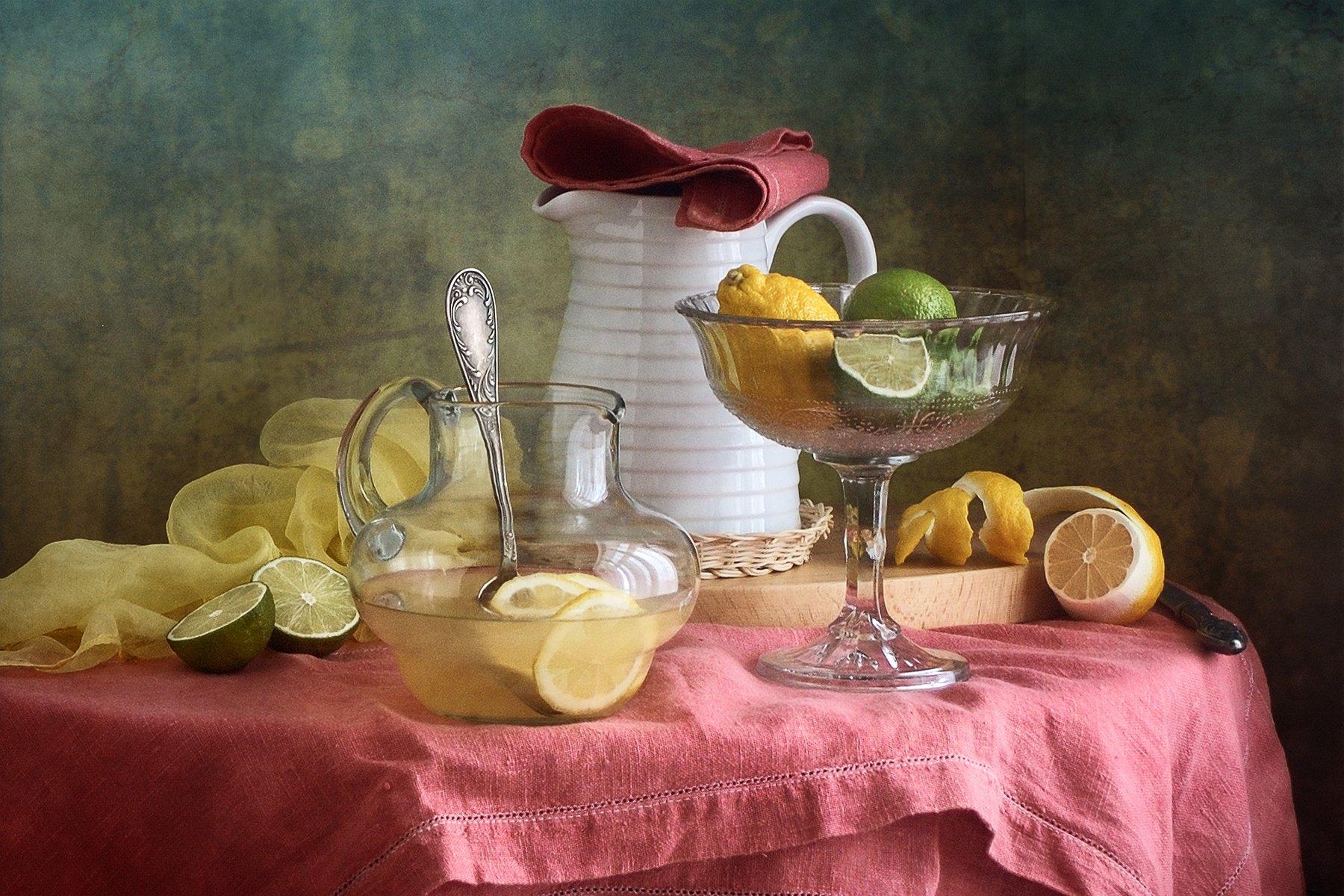 Фруктовый, натюрморт, желтымый, зеленый, цитрусовый, лимон, стеклянный, ваза, белый, кувшин, розовый, скатерть, кухня, Николай Панов