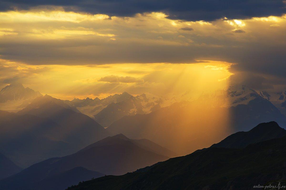 кавказ, закат, горы, Антон Петрусь