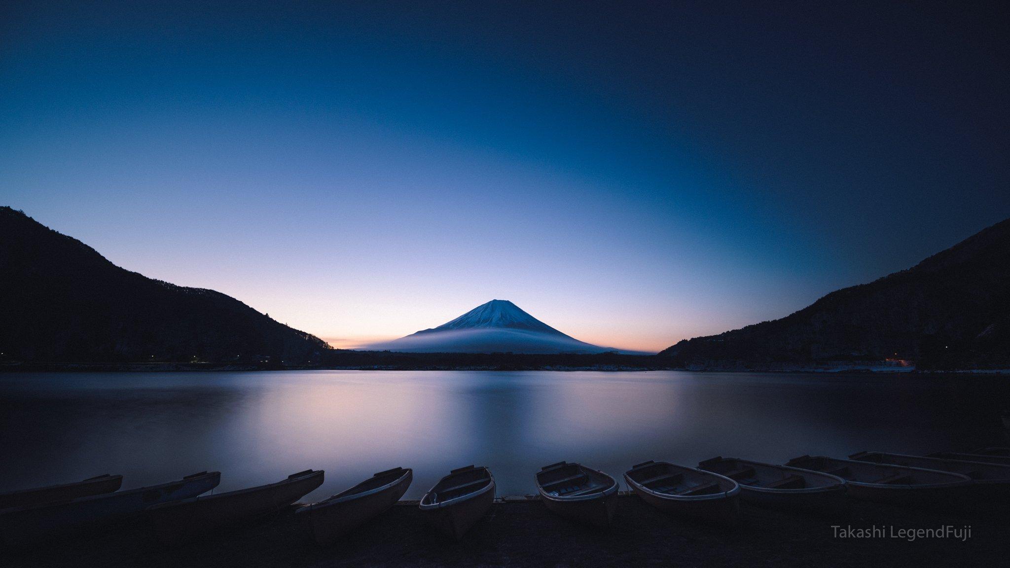 fuji,mountain,Japan,lake,water,dawn,boat,blue,sky,, Takashi