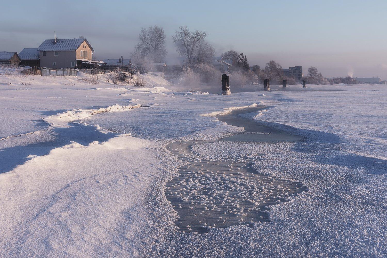 зима река берег лед мороз туман вечер деревья, Вера Ра