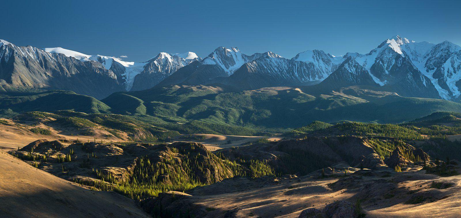 панорама, пейзаж, природа, горы, вершины, хребет, степь, долина, вечер, снег, ледники, камни, скалы, высокий, большой, красивая, Алтай, Сибирь, Курай, Чуйский, Дмитрий Антипов