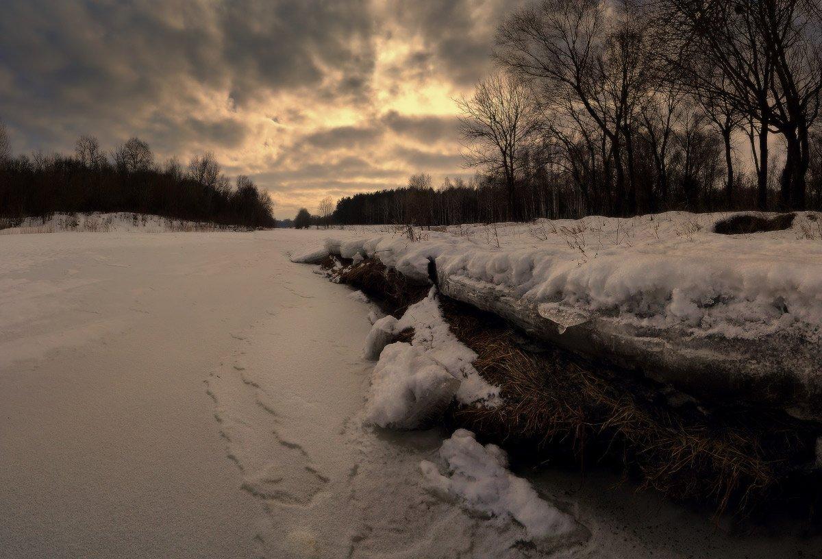 вечер, зима, лед, река, снег, февраль, Петриченко Валерий