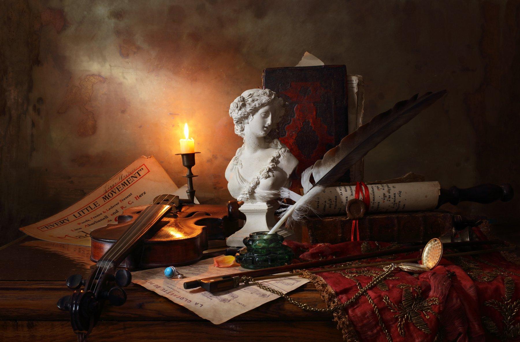 скрипка, музыка, свеча, бюст, девушка, книги, история, Андрей Морозов