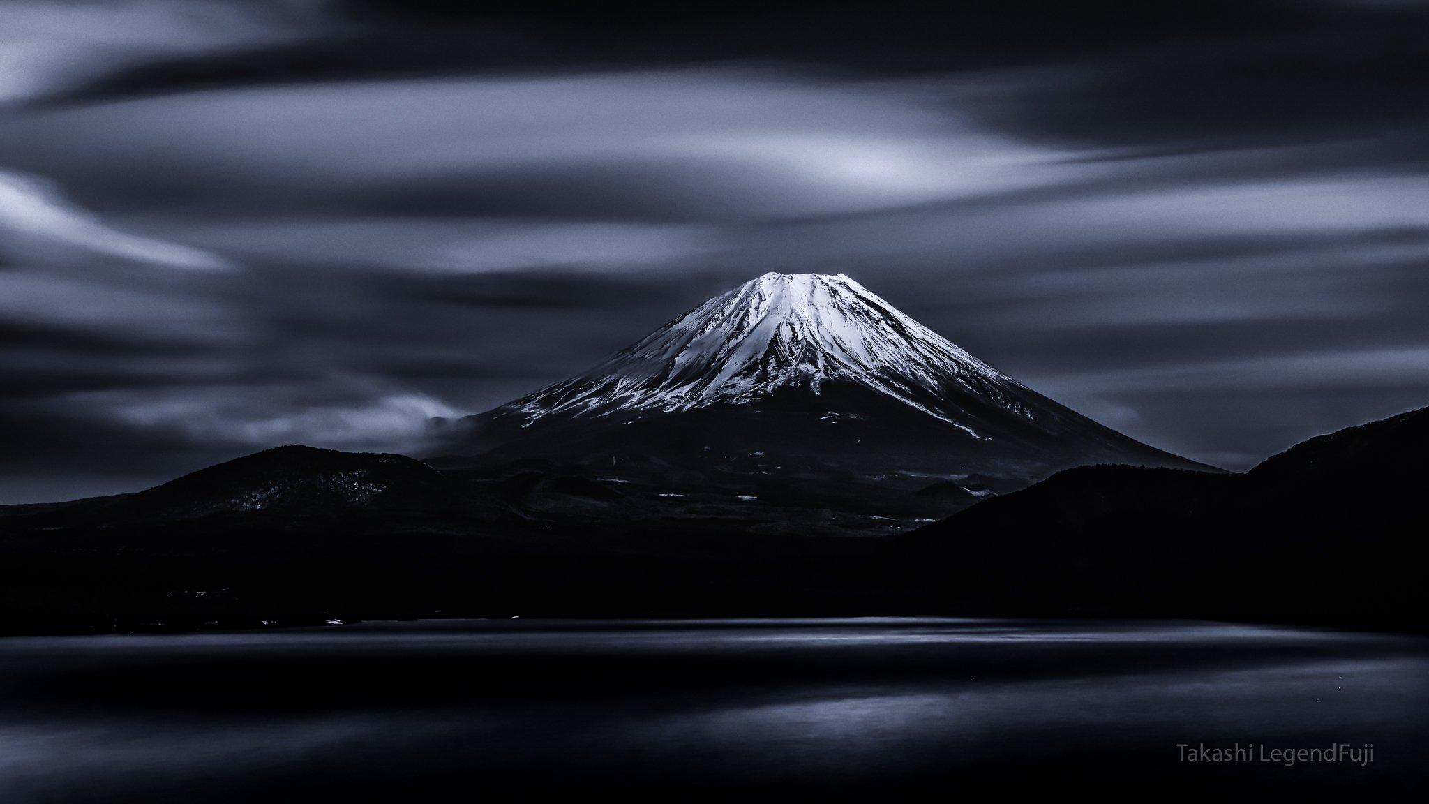 Fuji,mountain,Japan,cloud,lake,water,sky,snow,slow,flow,blue,beautiful,wonderful,amazing,, Takashi