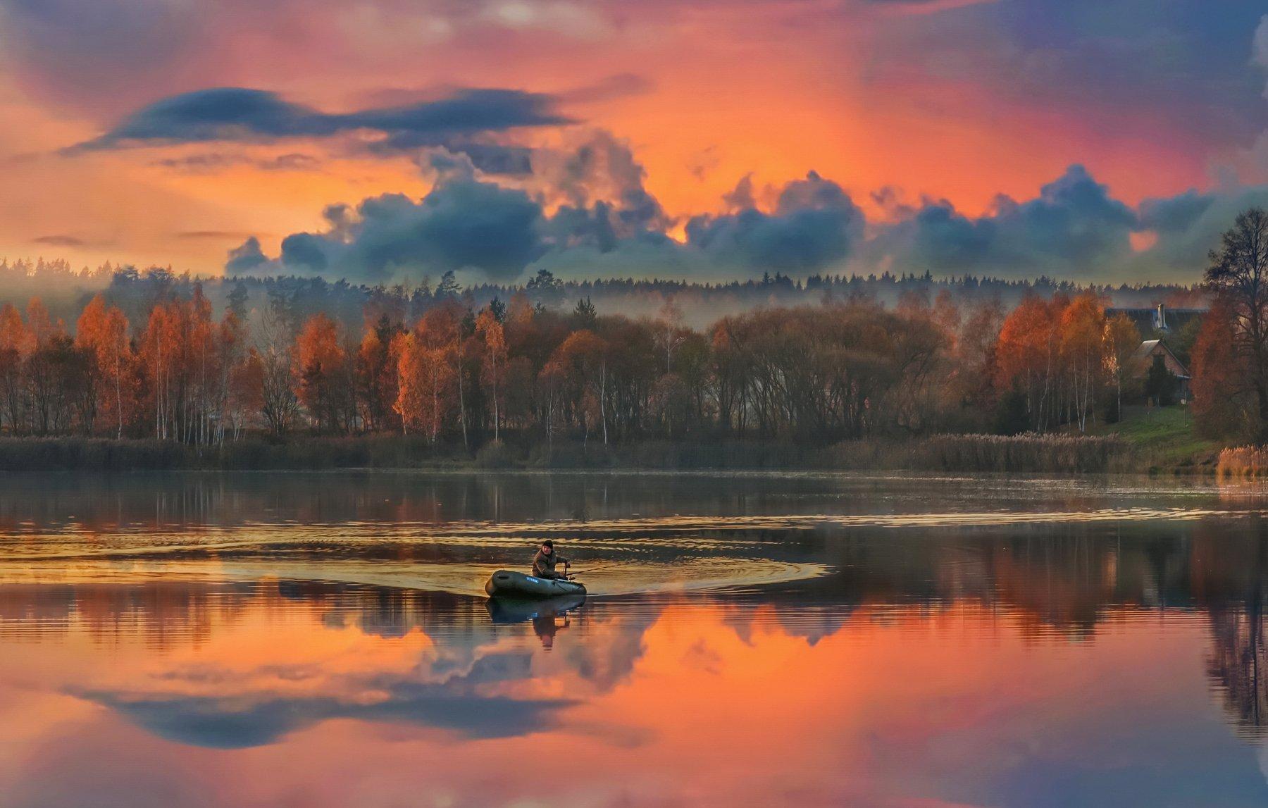 природа, закат, рыболов, осень, Александр Гвоздь