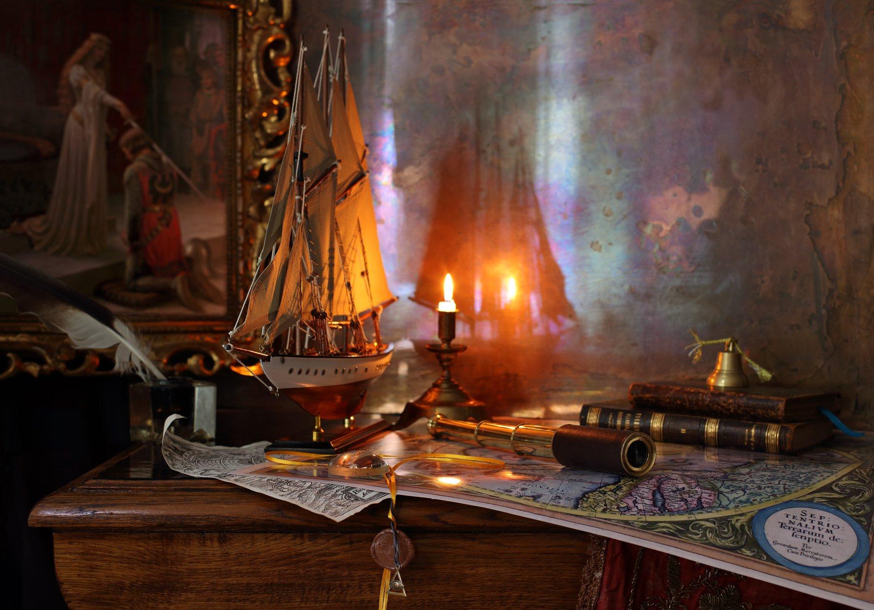 корабль, парусник, картина, карта, свет, свеча, книги, Андрей Морозов