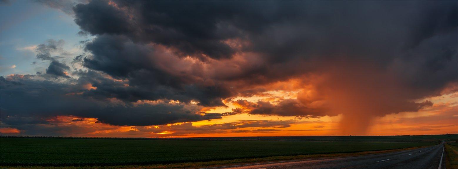 природа, пейзаж, весна, панорама, закат, дорога, дождь, тучи, Альберт Беляев