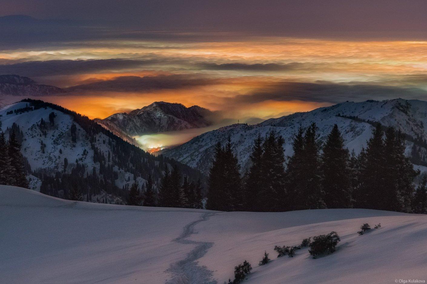 ночь, горы, облака, бутаковское ущелье, Ольга Кулакова