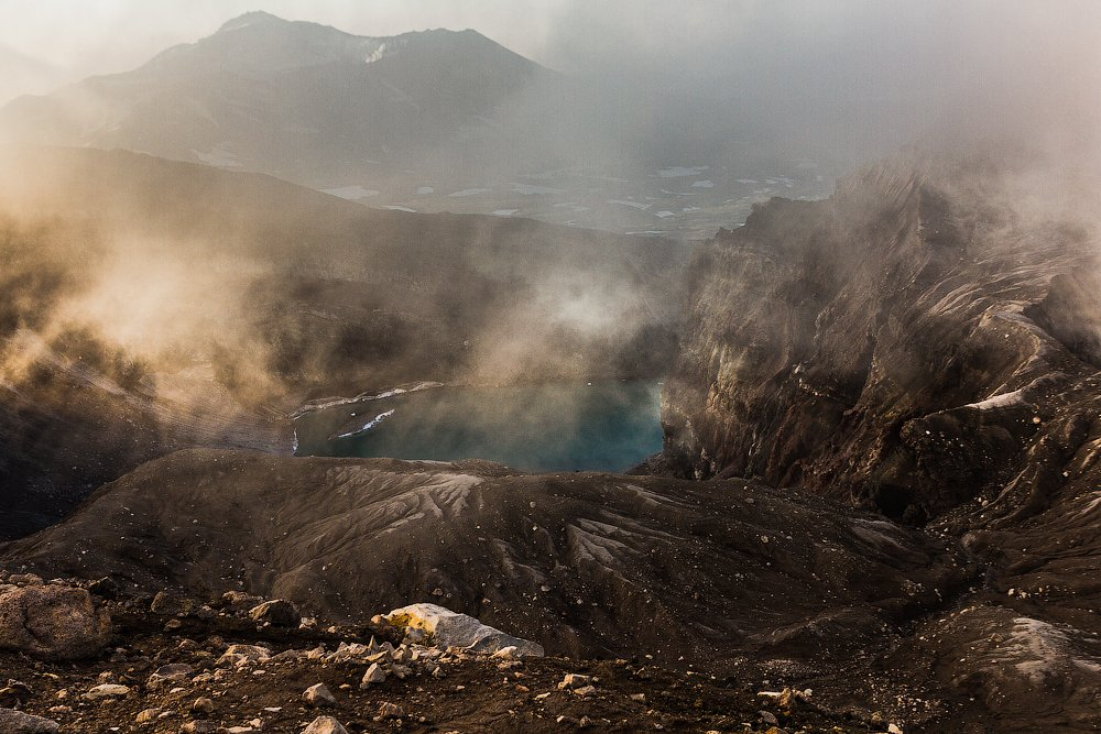 солнце, рассвет, вулкан, кратер, камчатка, горелый, Слащилина Нина
