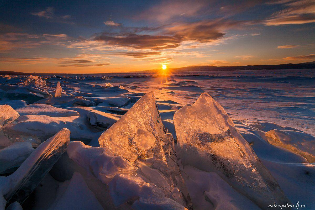 байкал, зима, лед, снег, закат, Антон Петрусь