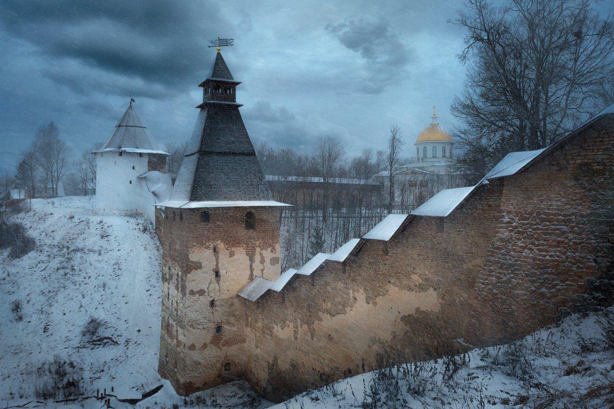 монастырь, зима, непогода, снег, церковь, стены, крепость, Cтанислав Малых