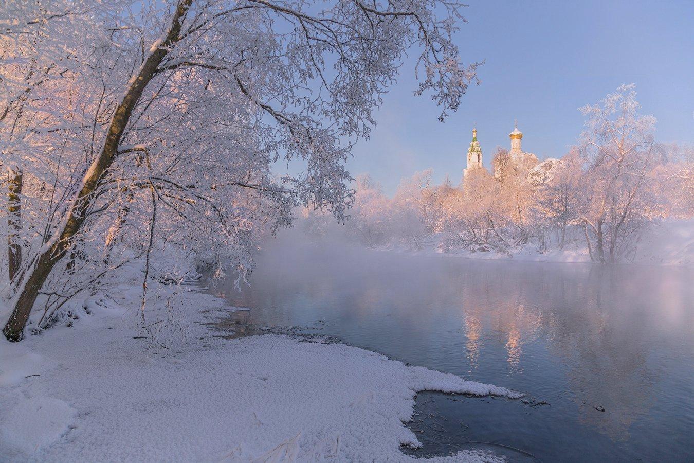 зима, река, рассвет, утро, храм, Виктор Климкин