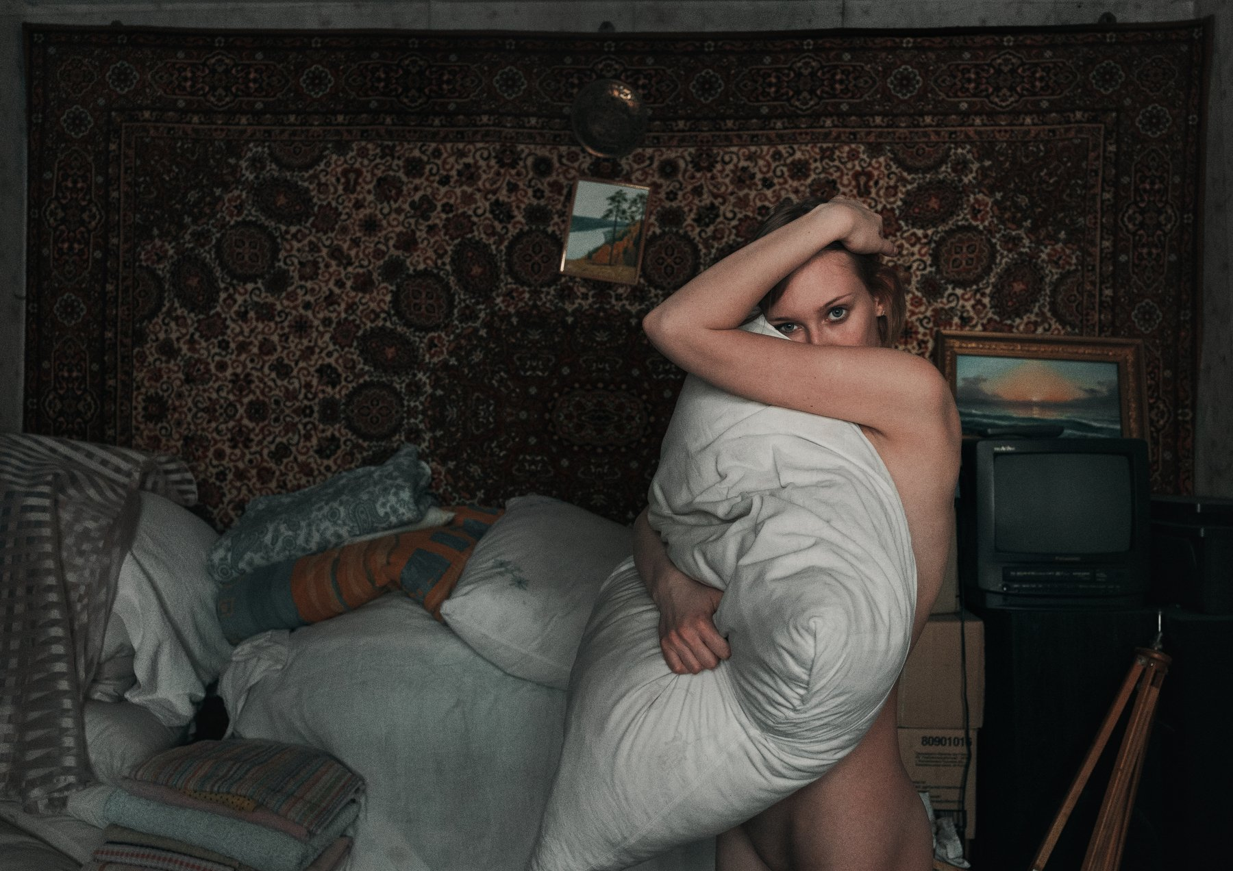 girl, home, nude, naked, pattern, at home, russia, russian, Роман Филиппов