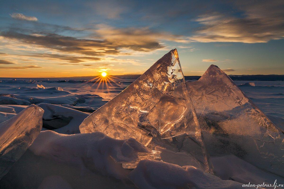 байкал, закат, лед, зима, Антон Петрусь