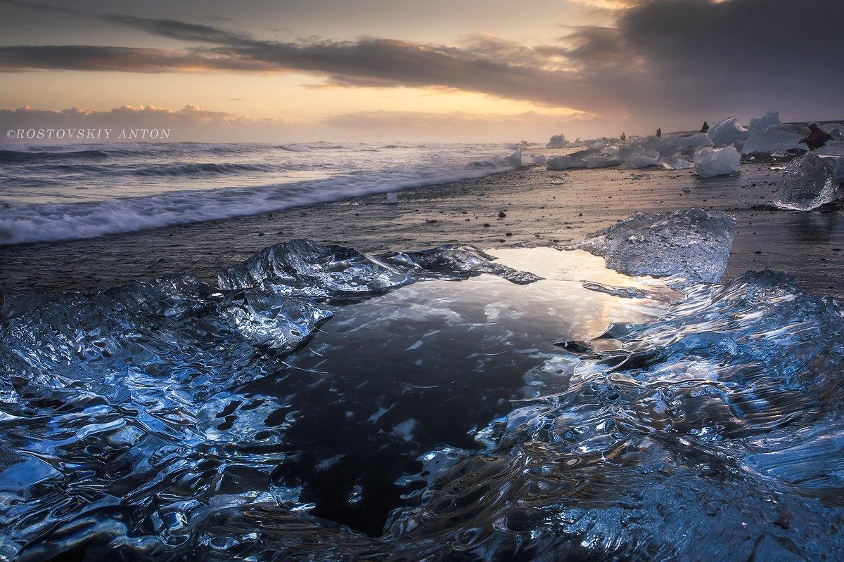 jokulsarlon, lagoon, Исландия, лёд, пляж, зеркало, Антон Ростовский
