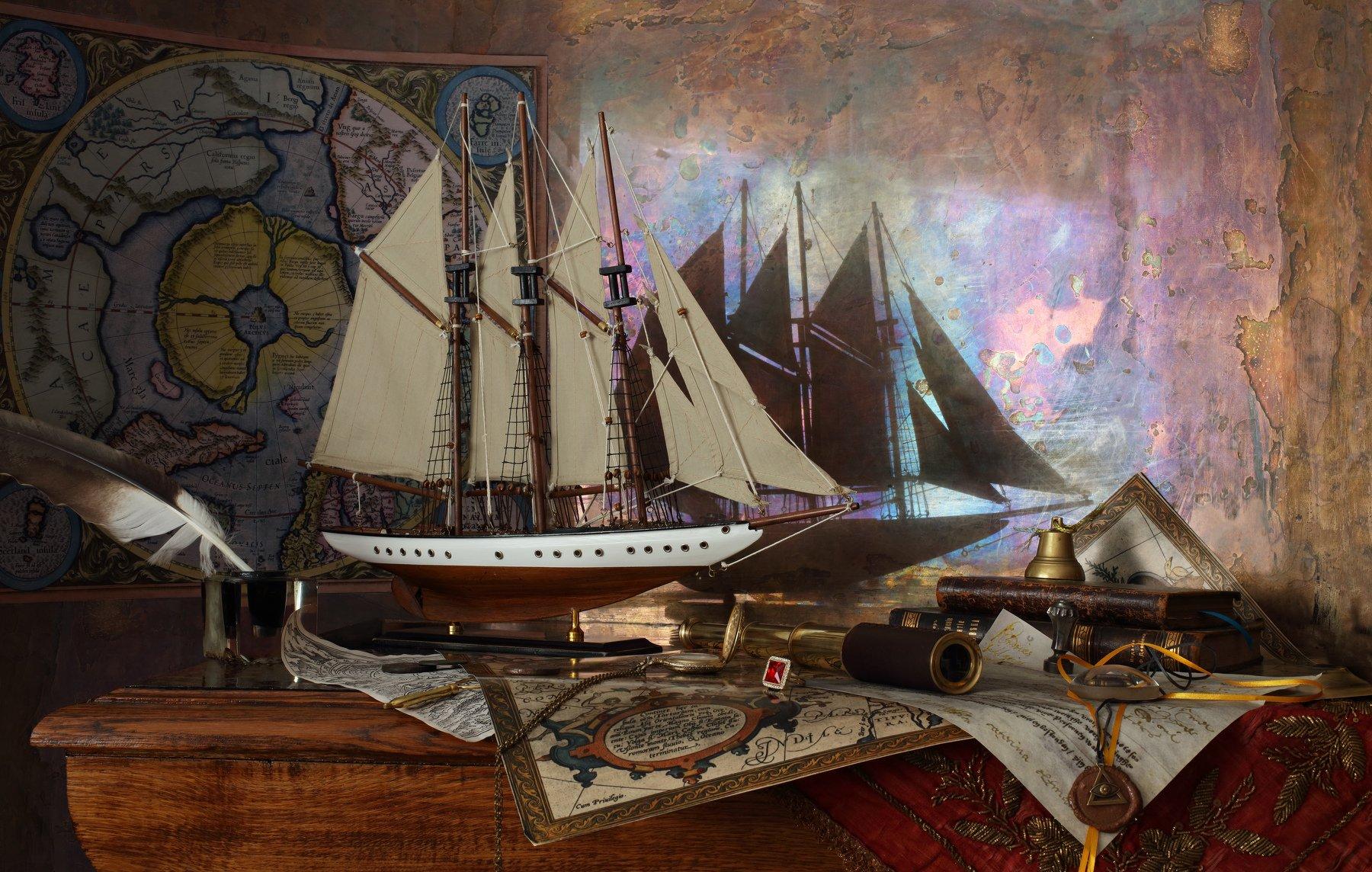 корабль, парусник, натюрморт, карта, Меркатор, полюс, история, Андрей Морозов