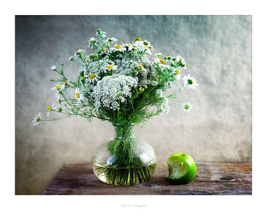 натюрморт, яблоко, полевые, цветы, stilleben, stillife, Nailia