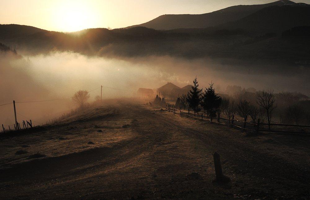 село, рассвет, карпаты, утро, Леонид Закревский