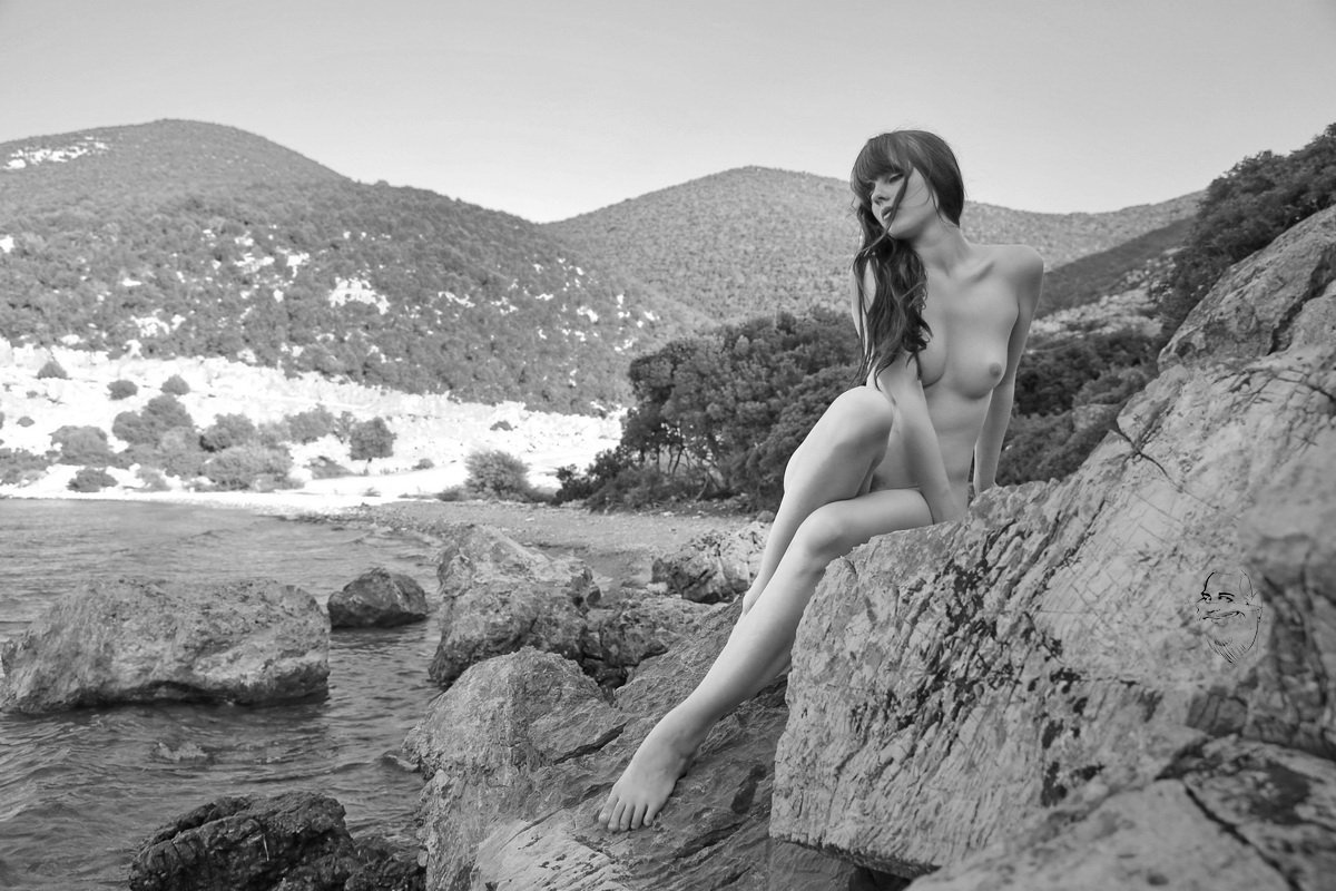 girl, stones, sea, nude, Dieter Kittel