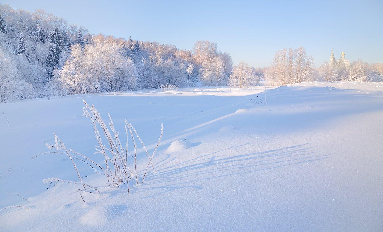 зима, утро, солнце, тени, храм, снег, Виктор Климкин