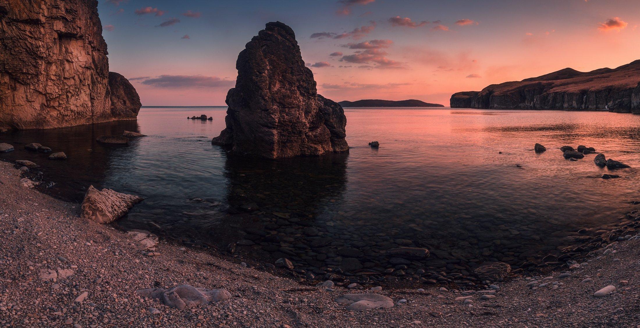 панорама, весна, вечер, море, скалы, камни, Андрей Кровлин