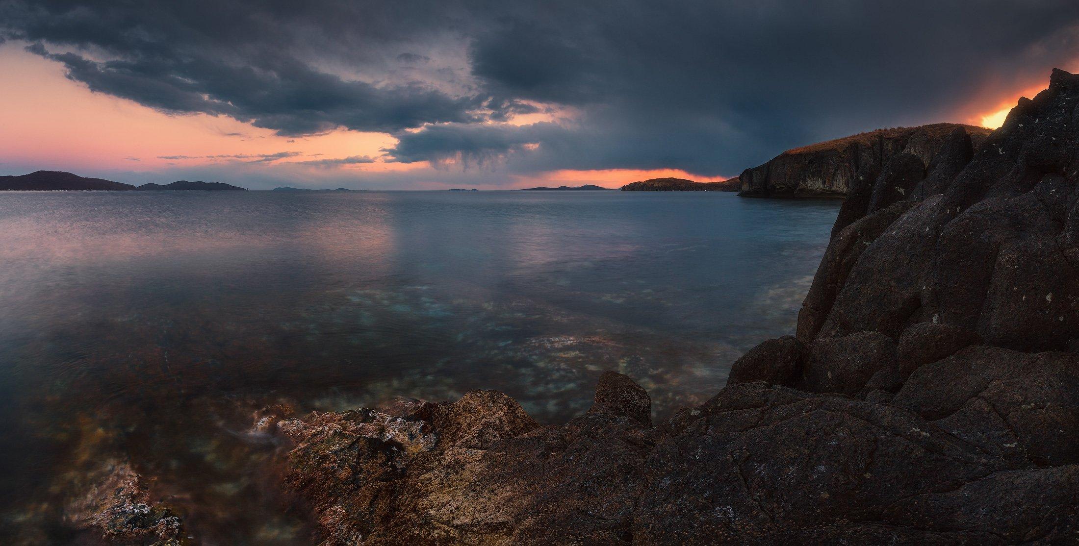 сумерки, скалы, море, камни, Андрей Кровлин