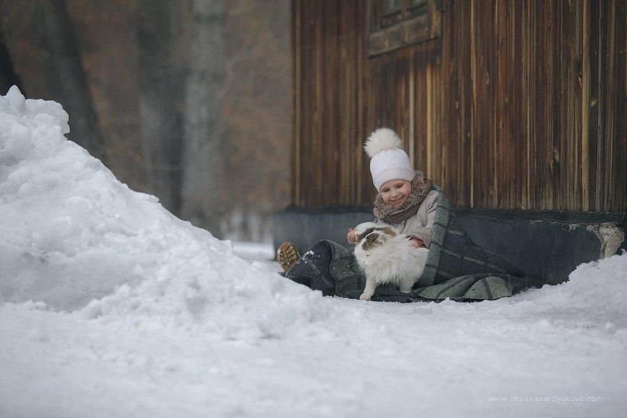 дети,зима,животные, Оксана